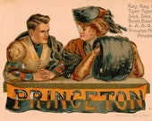 Vintage Postcard, Princeton University Girl and Football Player, Artist Signed F Earl Christy
