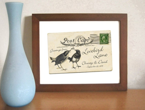 Wedding Gift Older Couple : Gift Old Postcard Lovebirds Wedding Gift Decor Romantic Wedding ...