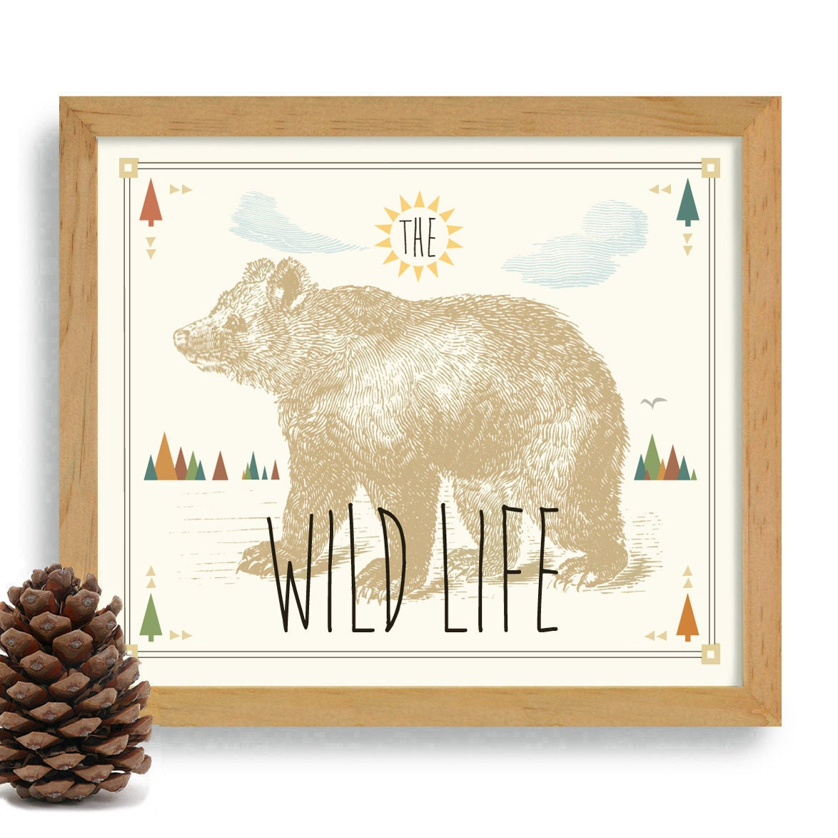 Rustic home western decor cabin art print bear print camping for Rustic bear home decor