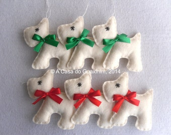 Christmas ornaments - Set of 6 Scottie Dog