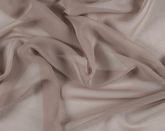 "54"" Wide 100% Silk Chiffon Bronze By the Yard"