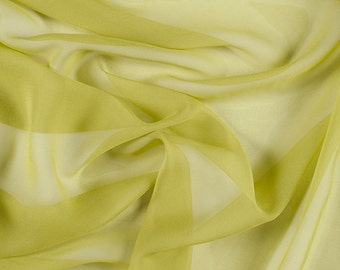 "54"" Wide 100% Silk Chiffon Chartreuse By the Yard"