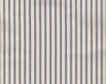 """54"""" Blue/Ivory Cotton Duck Ticking Fabric-20 Yards Wholesale By the Bolt"""