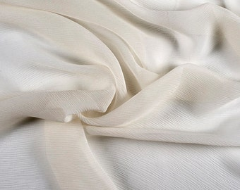 "42"" Wide 100% Silk Crinkled Chiffon Eggshell by the yard"