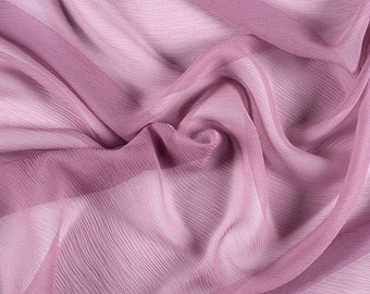 "42"" Wide 100% Silk Crinkled Chiffon Mauve Pink by the yard"