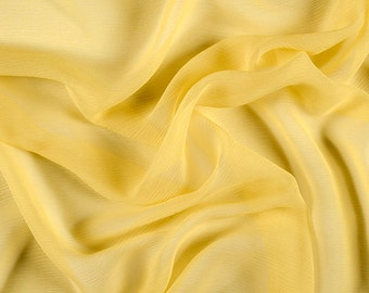 "42"" Wide 100% Silk Crinkled Chiffon Bright Yellow by the yard"