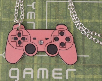 Pink Playstation Video Game Controller Necklace GIRL GAMER - Geeky Video Games Jewellery - Gaming Geek Jewelry Gifts