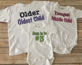 Set of 3 - 3rd child announcement Onesies/Shirts (Custom Text Colors/Wording)