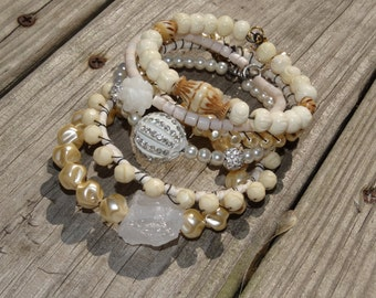 sale, Boho, wedding, gypsy, bangle stack, cream, white, off white, ivory, jewelry, bracelets, bangle stack