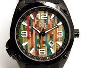 Colourful Watch - Wooden Watch Dial Made from Recycled Skateboards - One of a kind Gifts for Guys