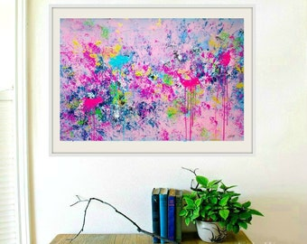 Original Abstract painting, Pink Painting, Large Wall art Modern Abstract Painting Art on canvas  24x36