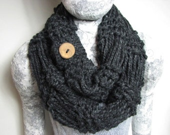 Dark Gray Hand Knit Infinity Scarf with Handmade Maple Wood Button