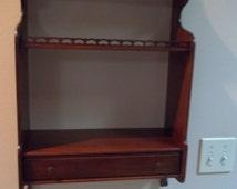 Vintage Wooden Wall Trinket Shelf Rack w/Drawer Wooden Knick Knack Decorative