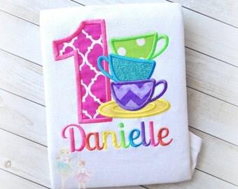 Tea cups birthday shirt - tea party themed birthday shirt for girls - rainbow tea party shirt - rainbow tea cups shirt - 1st birthday shirt