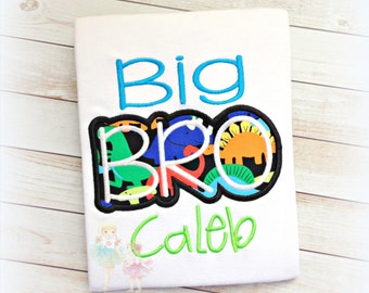 Big brother little brother dinosaur themed shirt - sibling dinosaur shirt - sibling dino shirts - big bro dino - little bro dino shirt