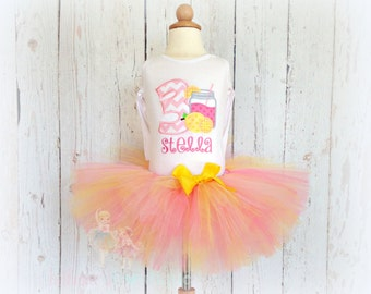 Lemonade birthday outfit - pink lemonade birthday outfit - lemonade tutu outfit - lemonade themed - embroidered birthday outfit