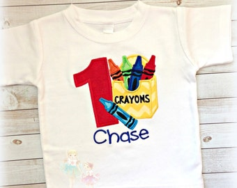 Birthday Crayon Box Applique Shirt- Art Party- Colorful- Artist- Birthday Shirt- Back to School