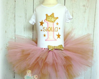First birthday outfit - Gold stars birthday outfit - pink and gold First birthday outfit -  golden stars tutu outfit - custom embroidered