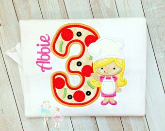 Pizza themed birthday shirt for girls - Pizza party shirt - pizza chef shirt - custom embroidered birthday shirt - personalized shirt