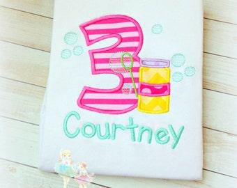 Girl bubbles birthday shirt - Bubble shirt - Summer birthday shirt - 1st Birthday shirt - personalized embroidered birthday shirt