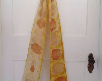Shibori dyed bush dyed Milkymerino wool scarf eco print 3