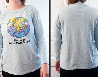 1981 Pittsburgh T shirt - Some Place Special long sleeve - rainbow city tshirt