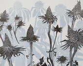 Woodblock Print: Coneflowers