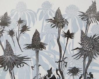 Woodblock Print: Coneflowers