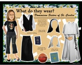 Catholic Dominican Sister of St. Cecilia What do they Wear DIGITAL download dress up DIY paper doll