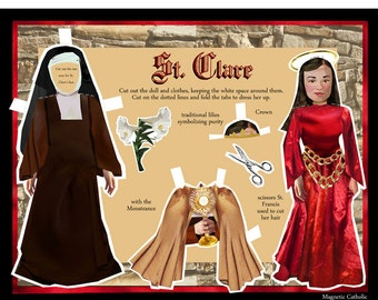 Saint Clare Order of the Poor Clares DIY digital download print and cut Catholic paper doll