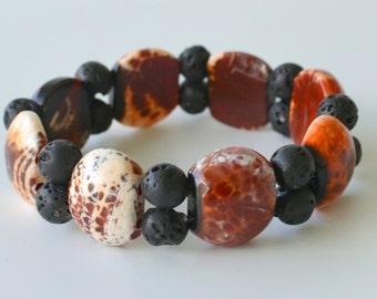 Fire Agate and Lava Bead Bracelet, Unisex Men's or Women's Bracelet, Striking and Dramatic Chunky Stretch Bracelet, Gift Boxed