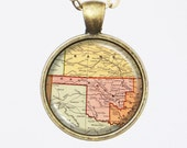 Oklahoma State Necklace, Vintage Pendant Necklace- Antique Map of Oklahoma, Old Map Penant Series