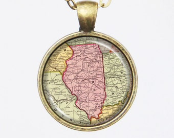 Illinois Map Necklace, map pendant- State of Ilinois, Customizable Map Necklace -Vintage Map Series