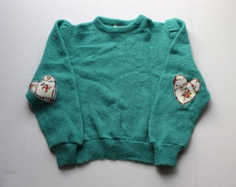 Vintage Teal Sweater / Jumper with vintage nursery rhym heart elbow patches