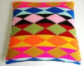 Pillow Cover Knitted Ethnic Pattern harlequin Geometric 50x50cm