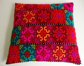 Pillow Cover Embroidered Handmade Yellow Blue Red Pink Green Multicolored