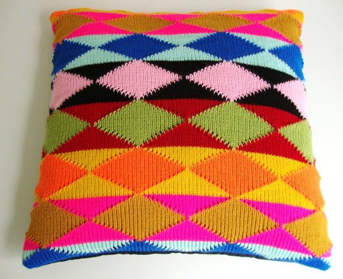 Pillow Cover Knitted Ethnic Pattern harlequin Geometric