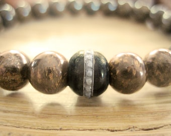 Mens Mala Bead Bracelet - Bronzite Bracelet for Men with Tibetan Prayer Bead, Brown Stone