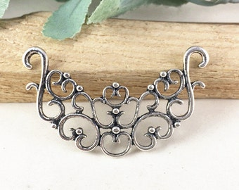 10pcs Antique Silver Filigree Flower Focal Connector Charm for Necklace Pendant 28x54mm AB405-6