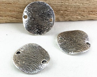 25pcs Antique Silver Round Hammered Disc Plate Connector Charm Pendants 18mm AC307-2