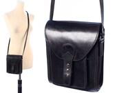 Leather SATCHEL Bag Small SADDLE Bag Black Thick Leather Distressed Shoulder Crossbody Little Hippie Woman Purse Handbag Pouch