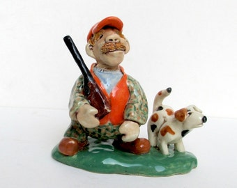 Hunter clay whistle - Pottery Whistle - Clay Whistle - Hunter and Dog - Ken the Hunter - Norma Seto - Clay Hunter - Pottery Sculpture