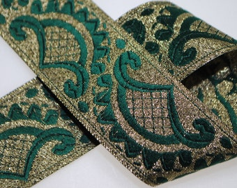 Emerald and Gold 3 Yards Jacquard Trim 32mm wide