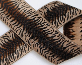 Animal Print Zebra or Cheetah Jacquard Trim 1&1/4 inches wide - Two, Five, or Ten Yards