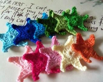 12 Assorted Starfish Crochet Appliques