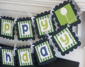 Happy Birthday Golf - Golfer Theme Green Navy Preppy Argyle Banner - Matching Cupcake Toppers, Favor Tags, Place Cards & Door Sign Available