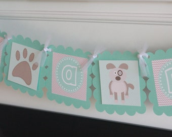 """Aqua Blue & Taupe Dog Puppy Doggy Boy Baby Shower - """"Its a Boy"""" or """"Little Man"""" Man Baby Shower Banner - Ask About Party Pack Specials"""