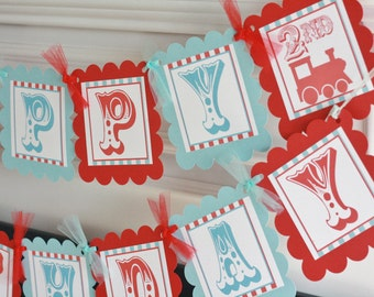 Vintage Train Party Pack - Red/Light Blue OR Red/Navy or Green/Blue - Birthday Banner, 12 Cupcake Toppers, 12 Favor Tags & Door Sign