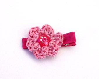 Flower Alligator Hair Clip, Crochet flower, Nougat Pink