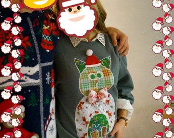 Made to Order Patchwork CHRISTMAS KITTY Cat Oversized SWEATSHIRT